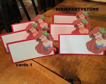 12 Little Mermaid Ariel Tent Place Cards...your choice!