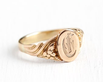 Antique C Signet Ring - Initial C Art Nouveau 10k Rosy Yellow Gold Oval Band - Vintage Edwardian 1900s Size 5 1/2 Fine Flower Jewelry