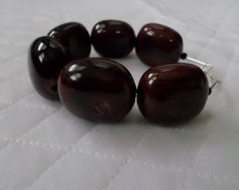 Handmade, large brown marble beads with sterling silver, bracelet