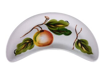 Crescent Dish with Handpainted Fruit from Radford Pottery