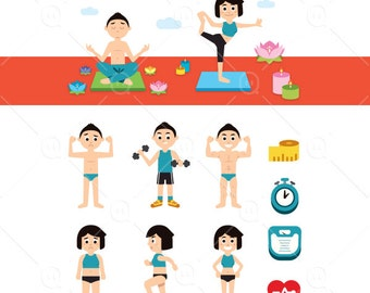 Yoga And Fitness Clipart Sports