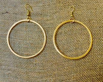 Gold Hoop Drop Earrings