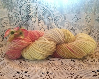 Summer Lemonade: Hand dyed, 2 ply wool yarn.  Great for rug hooking, knitting, and Oxford Punch.