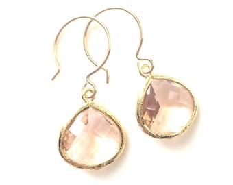 Blush Earrings, Bridesmaids Peach Earrings, Bridesmaids Blush Earrings, Bridesmaids Earrings