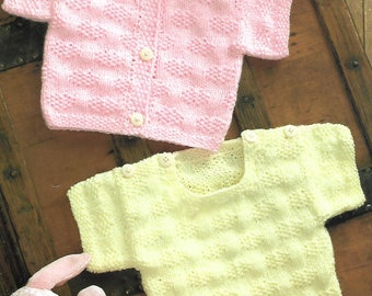 knitting pattern, prem baby to 4 years, top an cardigan, double knitting, pdf, instant download