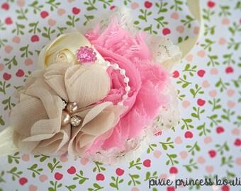 Kiss of a Rose - Headband, Baby Headband, Photography Prop, Couture Headband, Shabby Chic Headband, Vintage Inspired, Wedding Headband