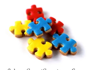 1 Dz. Mini Puzzle Piece Cookies! Favors, parties, birthdays and showers!
