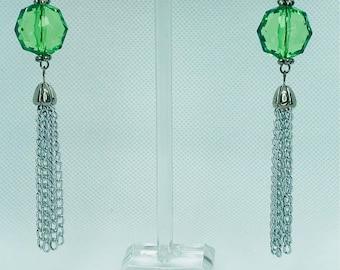 Green stone & Chain Drop Earrings