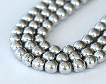 Silver Metallic Czech Glass Beads, 6mm Round - 50 pcs - e27000-6r