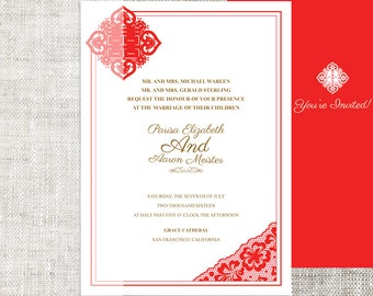 Diy printable chinese wedding invitation card template instant diy printable chinese weddingcelebration invitation card template instant download elegant red lace paper cut double happiness stopboris Image collections