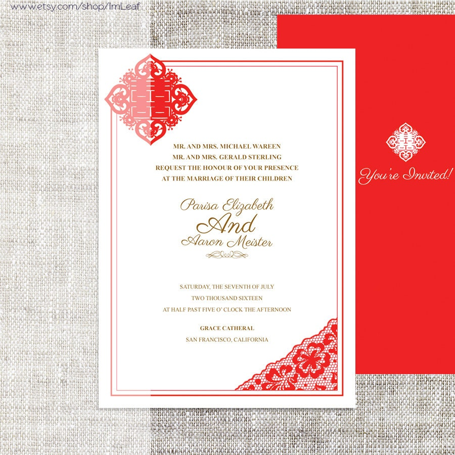 DIY Printable Chinese Wedding/Celebration Invitation Card