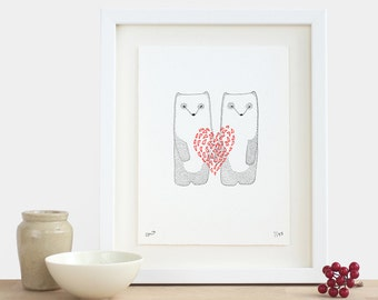 Valentine Pandas Print - limited edition love valentines day Christmas birthday new baby wedding engagement giant red heart white black