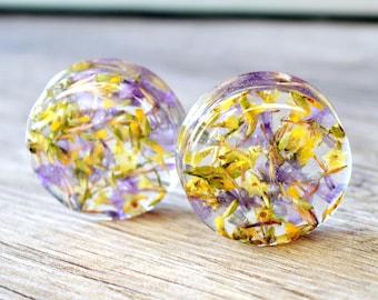 real flowers resin plugs real flower Gauges Plugs flower ear tunnel floral Plug Gauge Plug Earrings ear plug natural plugs purple yellow