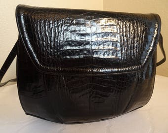 BEAUTIFUL Vintage 1980's BlackAlligatorskin Handbag MADE In USA By 'Frenchy Of California' - Lovely!!