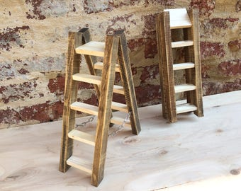 Wooden ladder folding furniture, step stool, jewel case, gift idea, wooden ladder with steps ladder ornamental stool door necklaces earrings