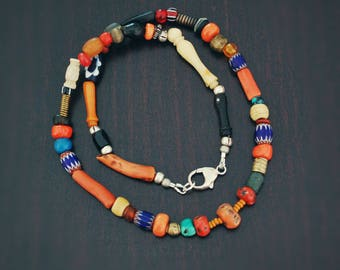 Multistone Coral and Trade Beads Necklace