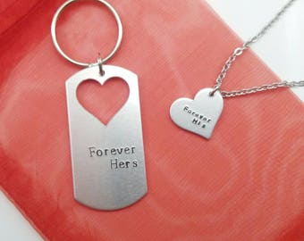 Couple's Necklace and Keychain Set - anniversary day gift for her - anniversary Gift for Him - anniversary couples gift set