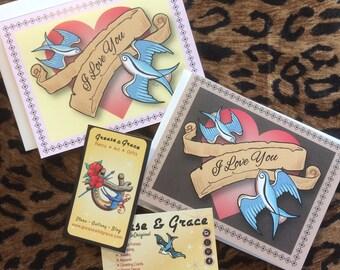 I Love You - Anniversary Card, Vintage Style Tattoo Art - 1950s Swallows - Husband, Wife, Boyfriend, Girlfriend, Digital Download or Print