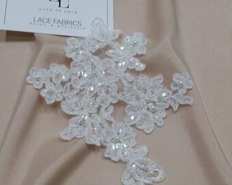 Ivory Lace applique, Beaded lace applique, French Chantilly lace applique, 3D lace, bridal lace applique, M0065
