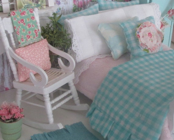 Miniature Shabby Aqua and Pink Ruffled Comforter, Bedding and Hand painted Sleigh Bed