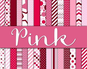 SALE - Pink Digital Paper Pack - Shades of Pink Backgrounds and Textures - 30 Papers - 12in x 12in - Commercial Use -  INSTANT DOWNLOAD