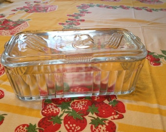 Vintage Clear Glass Covered Refrigerator Container/Dish with Embossed Vegetables on the Lid