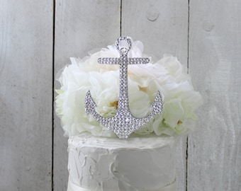 Anchor Wedding Cake Topper, Nautical Cake Topper, Anchor Cake Topper, Nautical Beach Wedding, Swarovski ,Bling Rhinestone Anchor topper