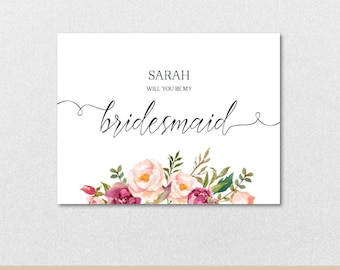 Will you be my Bridesmaid Proposal Card, Will you be my Bridesmaid Card,Bridesmaid Card-Printable Editable PDF-Download Instantly| VRD715BFB
