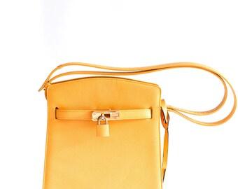 Hamano yellow leather crossbody bag