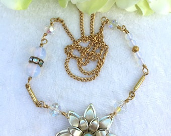 Rhinestone Flower necklace /Upcycled Jewelry, Repurposed Necklace, Bridal Jewelry, Boho Chic, Bohemian, Vintage Assemblage, Modern Gypsy