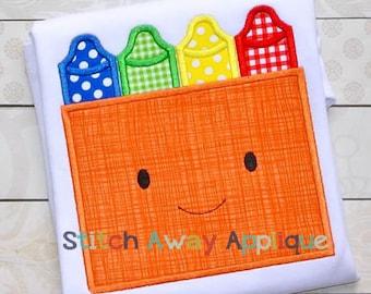 Mr Crayon Box Back to School Machine Applique Design
