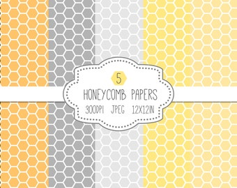 Honeycomb Paper Pack // Digital Pattern Papers // Yellow Gray Grey // Printable Paper // Instant Download // 12x12