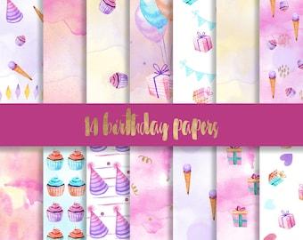 3 FOR 8 Birthday digital paper, birthday paper, balloons paper, happy birthday paper, watercolor digital paper, cupcake pattern