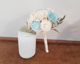 Wedding, Sola Bouquet, bride Bouquet , handtoss Bouquet, Alternative Bouquet,  aqua Bouquet, Sola flowers, Wood Bouquet, wedding bouquet