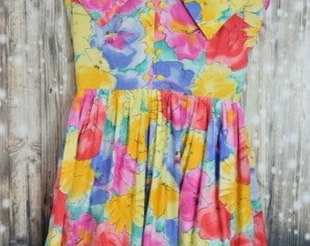 D_ 022) Vintage water Paint 50 ′s floral print dress