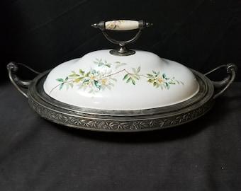 Pewter trimmed Graniteware Baker Serving Silverplate c.1890 Manning bowman Rare