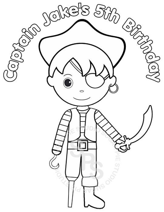 Personalized Printable Pirate Birthday Party Favor childrens