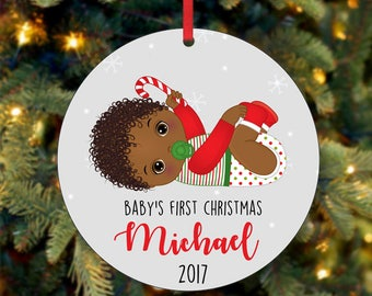 Baby's First Christmas Ornament, Personalized Christmas Ornament, Custom Ornament, African American Christmas Ornament, 2017 Ornament (0039)
