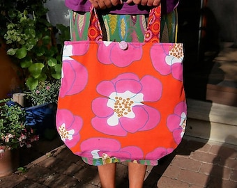 Bag, handbag, shoulder bag, tote bags, 70s, tote bag, roses,