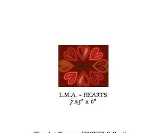 """L.M.A. ~ Hearts ~ 7.25"""" x 6"""" Paper Pattern for PUNCH NEEDLE by The Art Tramp/HOOKER Collection"""