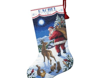 Santa s Arrival Stocking/Embroidered Christmas Stocking/embroidery to order /cross-stitch pattern