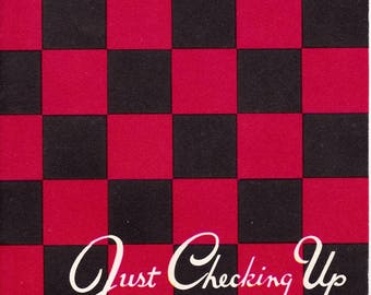 Checker Board Game Themed Vintage Greeting Card Get Well 1950's Unused