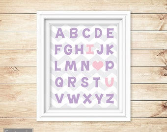 I Love Heart You Alphabet Pink Purple Learning Tool Wall Art Nursery Girl's Room Decor ABC's Printable 11x14 Digital JPG Instant Download 54