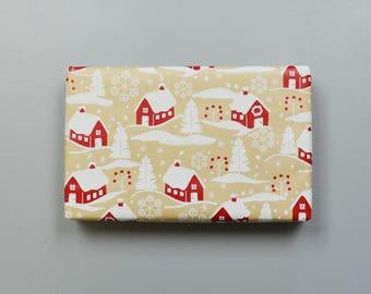 Kraft Country Christmas Homes Wrapping Paper, 2 Feet x 10 Feet