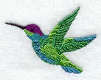 Hummingbird Towel - Embroidered Towel -Bird Towel- Hummingbird - Fingertip Towel