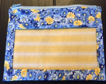 Blue and Yellow Floral and Striped Vinyl Pouch