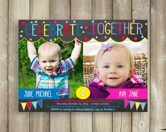 Joint Birthday Invitation Custom Colors Boy Girl Shared Party
