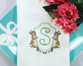 Rabbit Frame Monogram Huck Towel