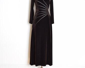 90s tadashi dress, vintage 90s dress, brown velvet dress, 90s clothing, long dress, tadashi gown, 90s prom dress, stretch velvet, L XL