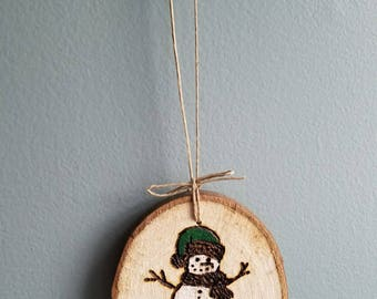 Hand cut, wood burned, hand painted wooden ornament